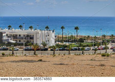 Alicante, Spain- July 28, 2020:arenales Del Sol Urbanization In The Coast Of Alicante In Summer