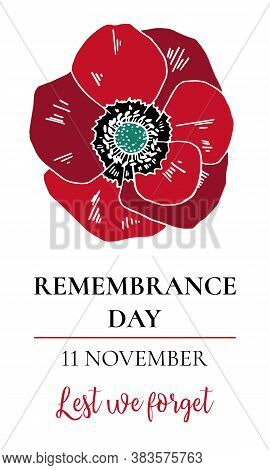Remembrance Day Design Template With Poppy Flower. Hand Drawn Vector Sketch Illustration On White Ba