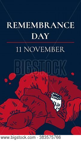 11 November Remembrance Day Vertical Design Template. Hand Drawn Vector Sketch Illustration