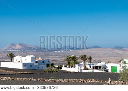 Inland Lanzarote, Canary Islands, Spain. A Town In The Morning Light.