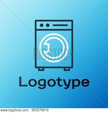 Line Washer Icon Isolated On Blue Background. Washing Machine Icon. Clothes Washer - Laundry Machine
