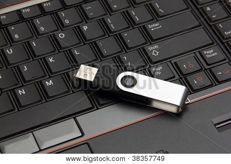 Usb Thumb Drive On A  Laptop