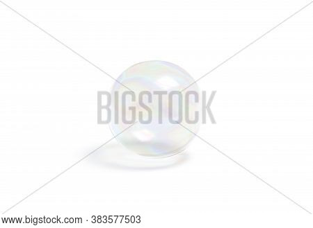 Blank Transparent Soap Bubble Mockup, Isolated, 3d Rendering. Empty Iridescent Soapy Ball Flying In