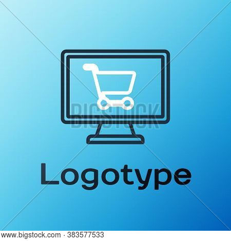 Line Shopping Cart On Screen Computer Icon Isolated On Blue Background. Concept E-commerce, E-busine