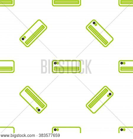 Line Air Conditioner Icon Isolated Seamless Pattern On White Background. Split System Air Conditioni