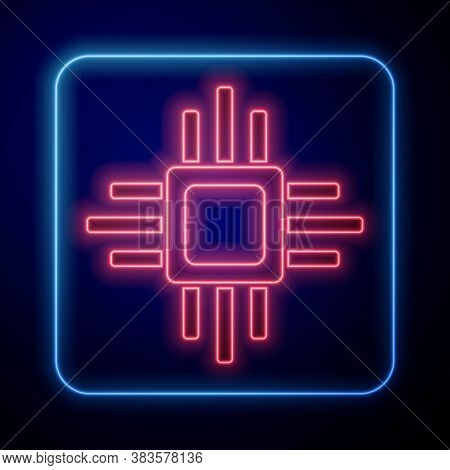 Glowing Neon Computer Processor With Microcircuits Cpu Icon Isolated On Blue Background. Chip Or Cpu