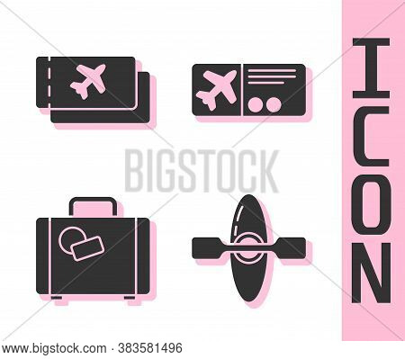 Set Kayak Or Canoe, Airline Ticket, Suitcase And Airline Ticket Icon. Vector