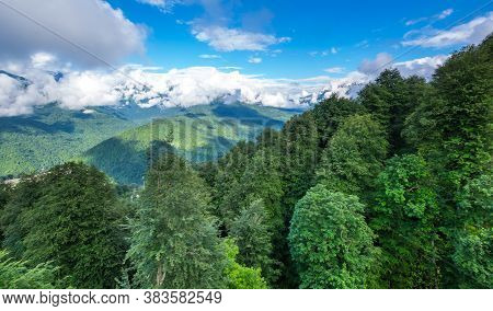 View Of Caucasian Mountains In Resort Red Glade, Krasnodar Krai, Russia