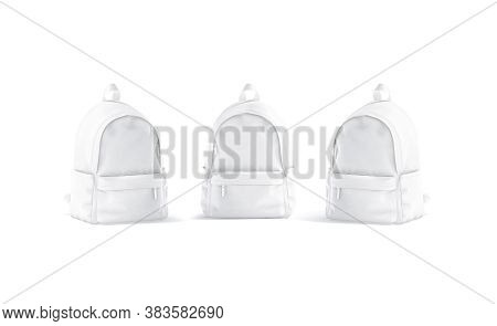 Blank White Backpack With Zipper Mockup, Front And Side View, 3d Rendering. Empty Student Or School