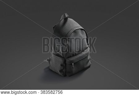 Blank Black Closed Backpack With Zipper Mockup, Dark Background, 3d Rendering. Empty Tourist Or Stud