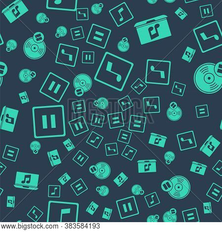 Set Music Note, Tone, Laptop With Music Note, Pause Button And Vinyl Disk On Seamless Pattern. Vecto