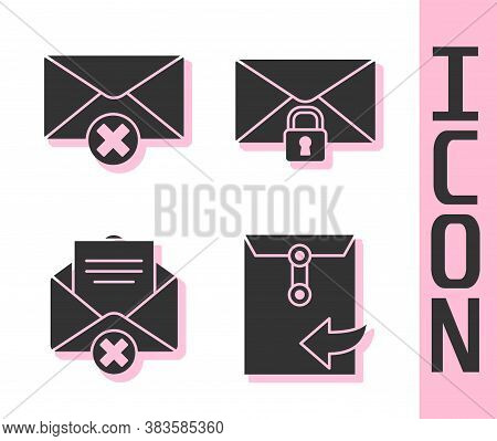 Set Envelope, Delete Envelope, Delete Envelope And Mail Message Lock Password Icon. Vector