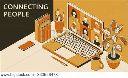 Laptop With Group Of People Doing Video Conference. Learning Or Meeting Online With Teleconference