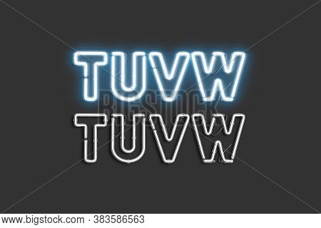 Decorative T U V W Letters, Neon Font Mock Up, 3d Rendering. Helium Creative Uppercase For Decoratio