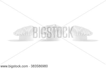 Blank White Toque Chef Hat Mockup Stand, Front And Side View, 3d Rendering. Empty Professional Fabri