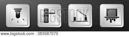 Set Motion Sensor, Door Handle, Parking Car Barrier And Paper Shredder Icon. Silver Square Button. V