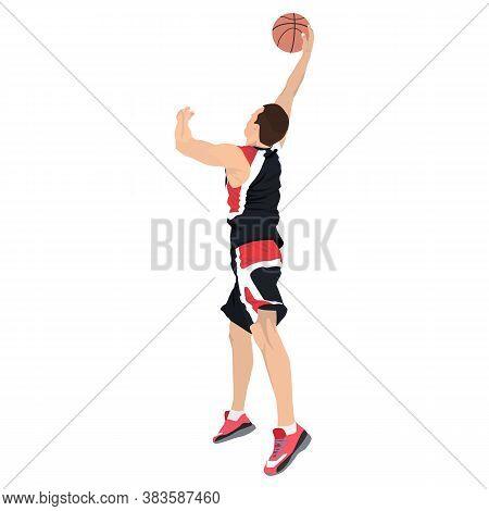 Slam Dunk. Basketball Shooting Technique. Young Man Athlete, Professional Basketball Player Shooting