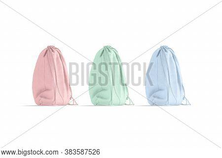 Blank Colored Drawstring Backpack Mockup, Side View, 3d Rendering. Empty Turnbeutel Natural Bag Mock
