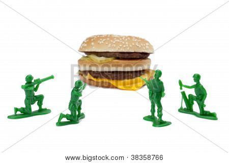 Hamburger With Military Toy Soldiers