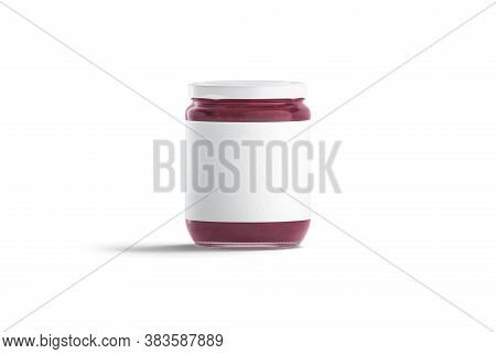 Blank Glass Jar With White Label And Berry Jam Mockup, 3d Rendering. Empty Preserve Can With Raspber