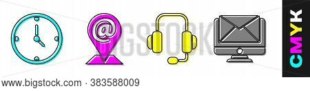 Set Clock, Location And Mail And E-mail, Headphones And Monitor And Envelope Icon. Vector