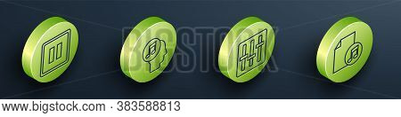Set Isometric Pause Button, Musical Note In Human Head, Sound Mixer Controller And Music Book With N