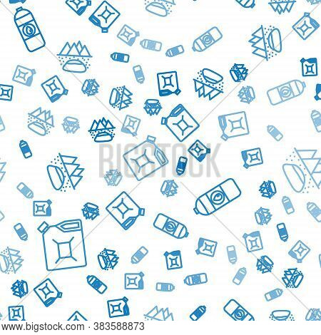 Set Line Canister For Gasoline, Canister For Motor Machine Oil And Oilfield On Seamless Pattern. Vec