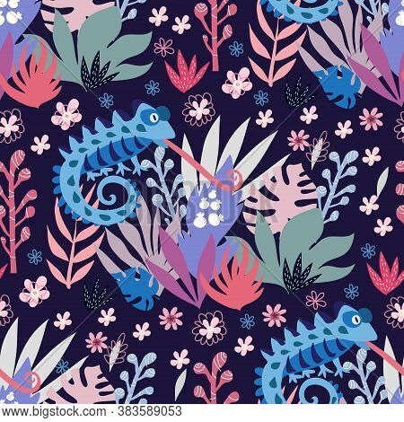Seamless Childish Pattern With Cute Chameleons. Use For Textile, Fabric, Wallpaper,  Poster, Postcar