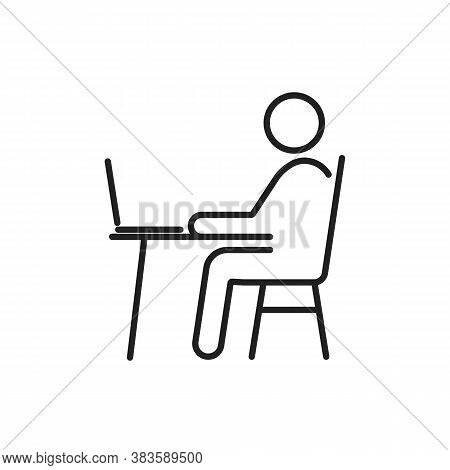 Remote Work From Home Office Line Vector Icon. Editable Stroke Symbol Of Man Pictogram Sitting At Th