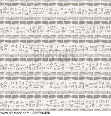 Seamless Gray French Woven Linen Rope Stripe Texture Background. Farmhouse Ecru Flax Hemp Fiber Natu