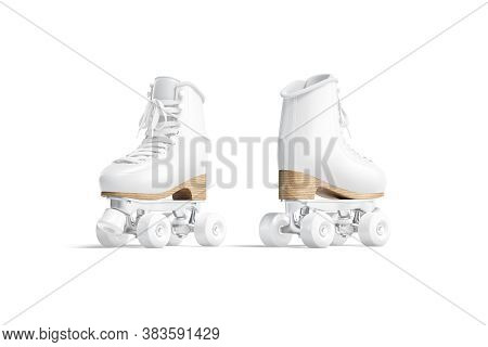 Blank White Roller Skates Mockup, Front And Back View, 3d Rendering. Empty Leather Shoelace For Jam