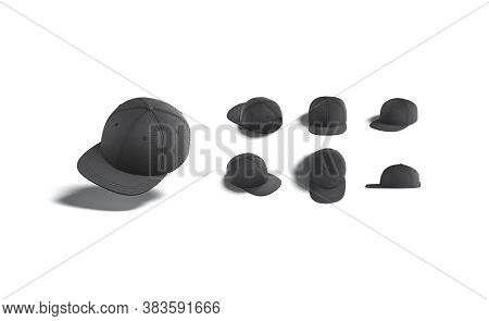 Blank Black Jeans Snapback Mock Up, Different Views, 3d Rendering. Empty Denim Headwear With Peaky M