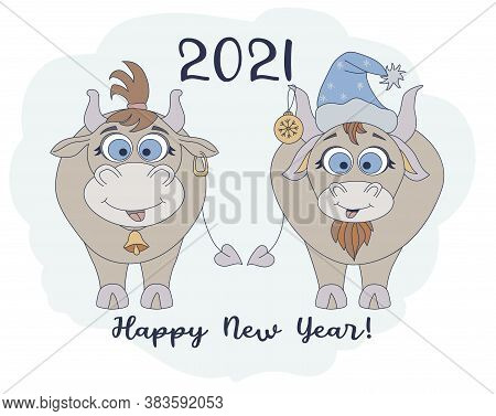Year Of The Bull 2021. Funny Characters A Cute Bull In A New Years Hat And A Funny Cow With A Haircu