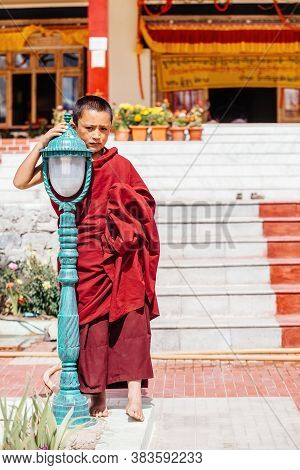 Thiksey Village In Ladakh, India - August 20: The Portrait Of Young Monk Standing Near The New Hall