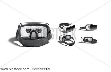 Blank White Virtual Reality Goggles Mock Up, Different Views, 3d Rendering. Empty Innovation Simulat