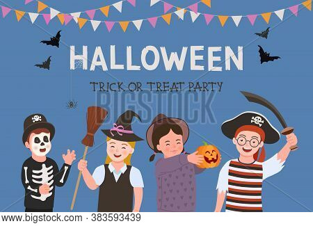 Halloween Party Poster. Halloween Party Kids Costume. Group Of Fun And Cute Kids In Halloween Costum