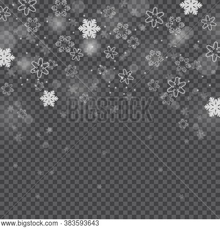 Winter Snowfall. Falling Snow, Flakes Banner. Christmas Snowfall Border Isolated On Transparent Back
