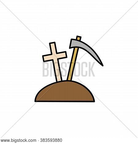 Graveyard, Death, Dig Outline Icon. Detailed Set Of Death Illustrations Icons. Can Be Used For Web,