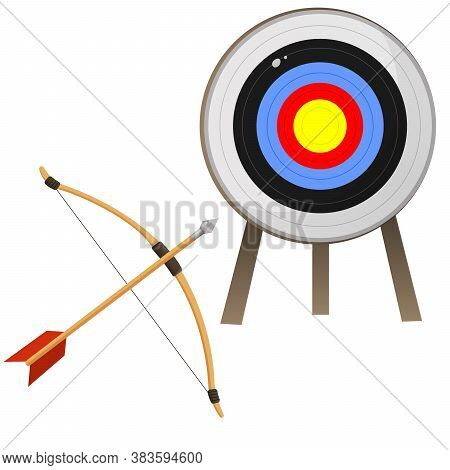 Color Images Of Target For Archery And Bow With Arrow On White Background. Sports Equipment. Bow Sho