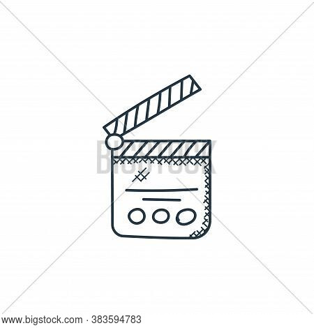 clapperboard icon isolated on white background from music collection. clapperboard icon trendy and m