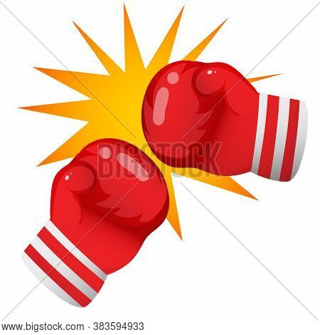 Color Image Of Cartoon Boxer Gloves On White Background. Sports Equipment. Boxing. Vector Illustrati