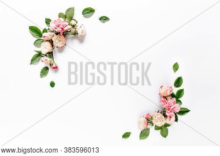 Border Frame With Pink Rose Flower Buds Branches Isolated On White Background. Flat Lay, Top View. F