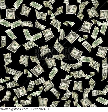 Money Pattern Hundred Dollar Bill. Falling Money Isolated On Black Background. American Cash.