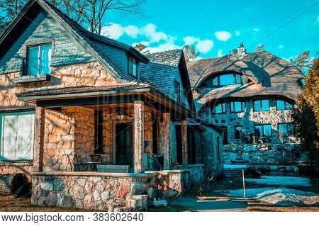 Charlevoix, Mi /usa - March 2nd 2018:  A Couple Of Earl Young Mushroom Houses In Charlevoix Michigan