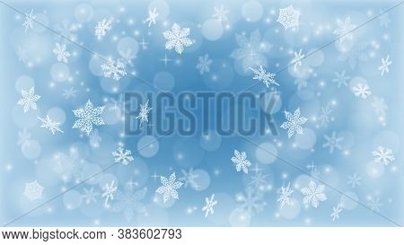 Blizzard. Christmas Background. Flying Snow ,winter Sky . The Sun Shines In The Snowflakes. Snowfall