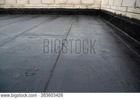 The Terrace Is Covered With A Layer Of Waterproofing Roofing Material