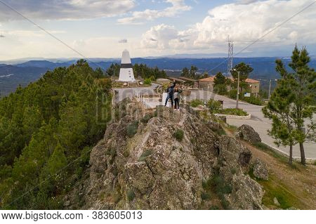 Vila De Rei, Portugal - March 30, 2019: Drone Aerial View Of A Couple In Geographical Center Picoto