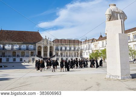 Coimbra, Portugal - April 4, 2019: Coimbra Historic University With Students And Tourists In Portuga