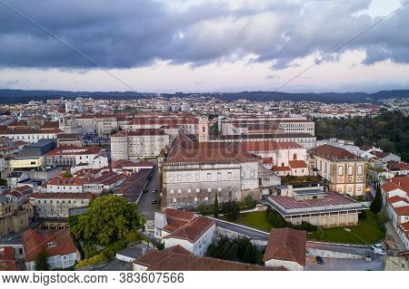 Coimbra Drone Aerial Of Beautiful Buildings University At Sunset, In Portugal