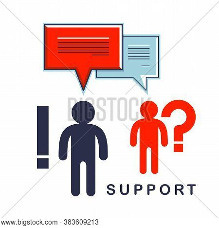Technical Support Employee And Customer Asking Question Inquiry, Two Man With Speech Bubbles Vector